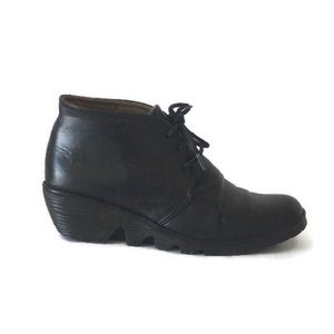 Fly London Black Leather Booties, EU 37
